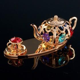 """Сувенир с кристаллами Swarovski """"Чайный набор"""" 12,2х4,6 см"""