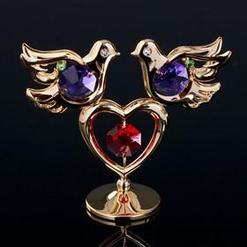 """Сувенир с кристаллами Swarovski """"Голуби на сердце"""" 7,9х7 см"""
