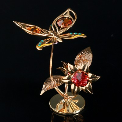 "Сувенир с кристаллами Swarovski ""Бабочка на орхидее"" 10х7,8 см - Фото 1"
