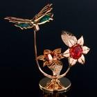 """Сувенир с кристаллами Swarovski """"Бабочка на цветке"""" 10х7,8 см - Фото 1"""