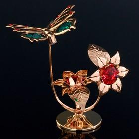 """Сувенир с кристаллами Swarovski """"Бабочка на цветке"""" 10х7,8 см"""