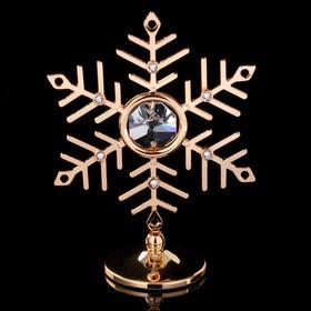 "Сувенир с кристаллами Swarovski ""Снежинка"" золото 7,9х6,3 см"