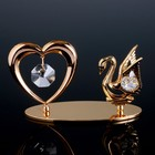 """Сувенир с кристаллами Swarovski """"Лебедь и сердце"""" 11,5х6,2 см - Фото 1"""
