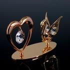 """Сувенир с кристаллами Swarovski """"Лебедь и сердце"""" 11,5х6,2 см - Фото 2"""