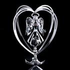 """Сувенир с кристаллами Swarovski """"Ангел-хранитель"""" хром 10,2х7,8 см - Фото 1"""