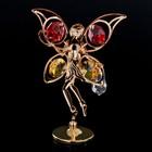 "Сувенир с кристаллами Swarovski ""Цветочная фея"" золото 10х6,5 см - Фото 1"