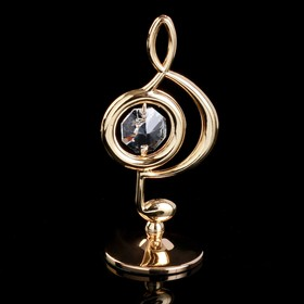 """Сувенир с кристаллами Swarovski """"Скрипичный ключ"""" золото 7,6х3,7 см"""