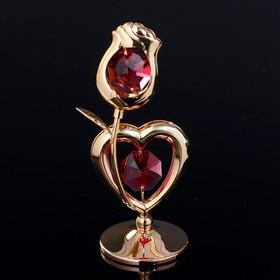 """Сувенир с кристаллами Swarovski """"Роза и сердце"""" 7,7х3,8 см"""