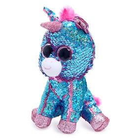 Мягкая игрушка «Единорог» Celeste, цвет розово-голубой, в пайетках, 15 см
