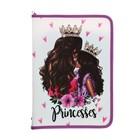 Папка для труда А4, молния вокруг, откидная планка, пластиковая, ПТР-5, «Модные принцессы»
