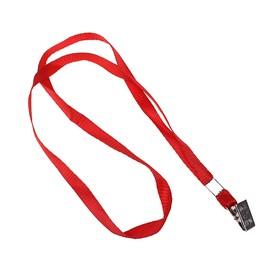 Лента для бейджа, ширина-10 мм, длина-80 см, с металлической прищепкой, красная Ош