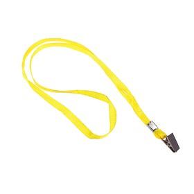 Лента для бейджа, 10 мм х 80 см, с металлической прищепкой, жёлтая Ош