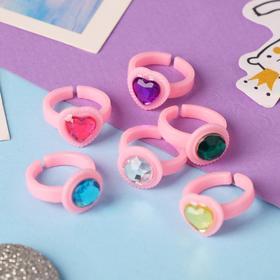 Кольцо детское 'Выбражулька' сердечки, цвет МИКС, безразмерное Ош