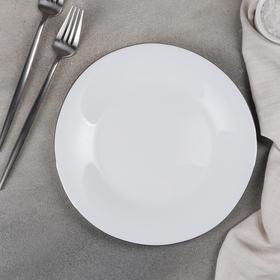 Тарелка обеденная «Сильвер», 23×1,5 см, цвет ободка серебряный