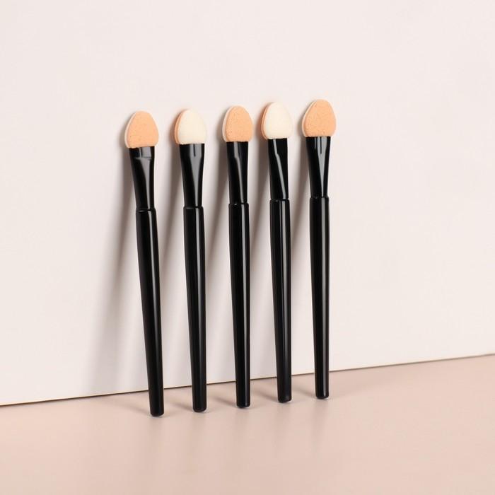 Набор аппликаторов для теней, 5 шт, 7,5 см, цвет чёрный