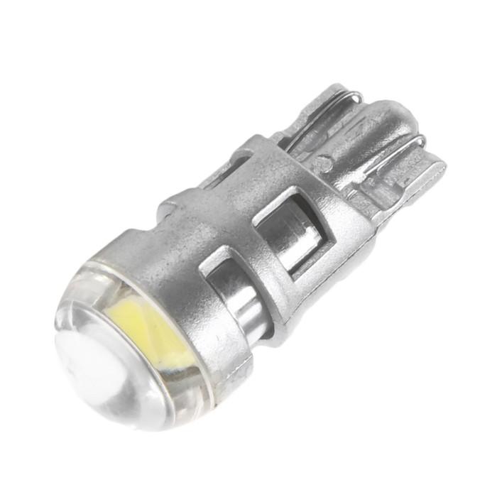 Автолампа светодиодная T10 W5W, 2 СОВ, 2 Вт, линза, свечение белое