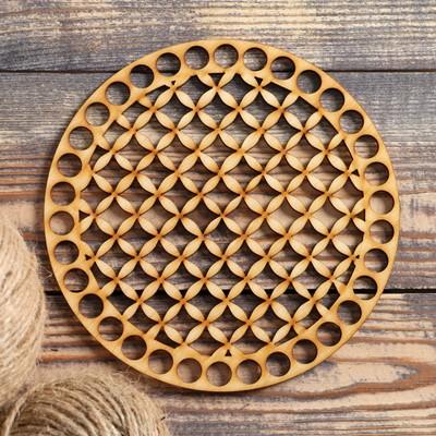 """Заготовка для вязания """"Круг, сетка"""", донышко фанера 3 мм, 15 см, d=10мм - Фото 1"""