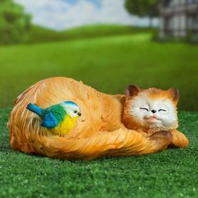 Садовая фигура 'Кошка спящая с птичкой' 13х29см Ош