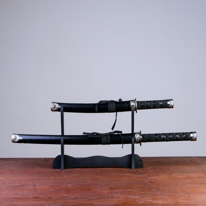 Сув. изделие катаны 2в1 на подставке, ножны кожзам, рептилия, черная 4770см