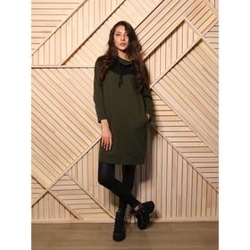 Платье женское, цвет хаки/полоска, размер 42