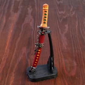 Сувенирное оружие «Катана на подставке», коричневые ножны, микс, 17см Ош