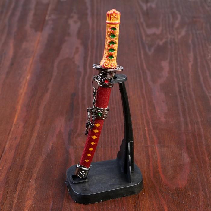 Сувенирное оружие «Катана на подставке», коричневые ножны, микс, 17см
