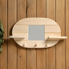 Зеркало 'Овал', 3 крючка, сосна, натуральный, 45×30×10 см Ош
