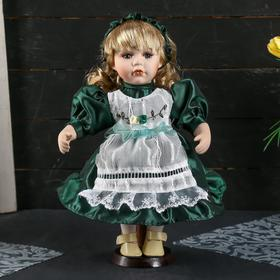 Кукла коллекционная керамика 'Василиса в тёмно-зелёном платье с фартуком' 30 см Ош