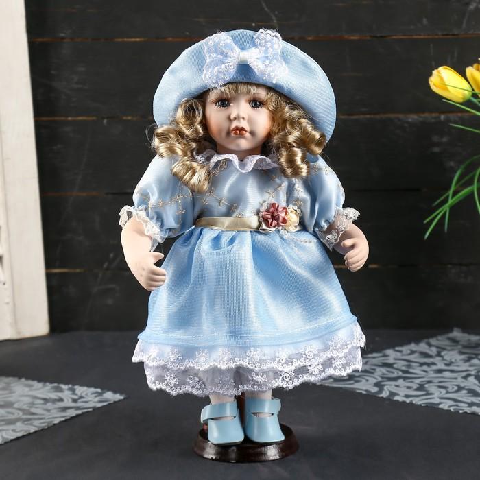 """Кукла коллекционная керамика """"Катюша в нежно-голубом платье со шляпкой"""" 30 см"""
