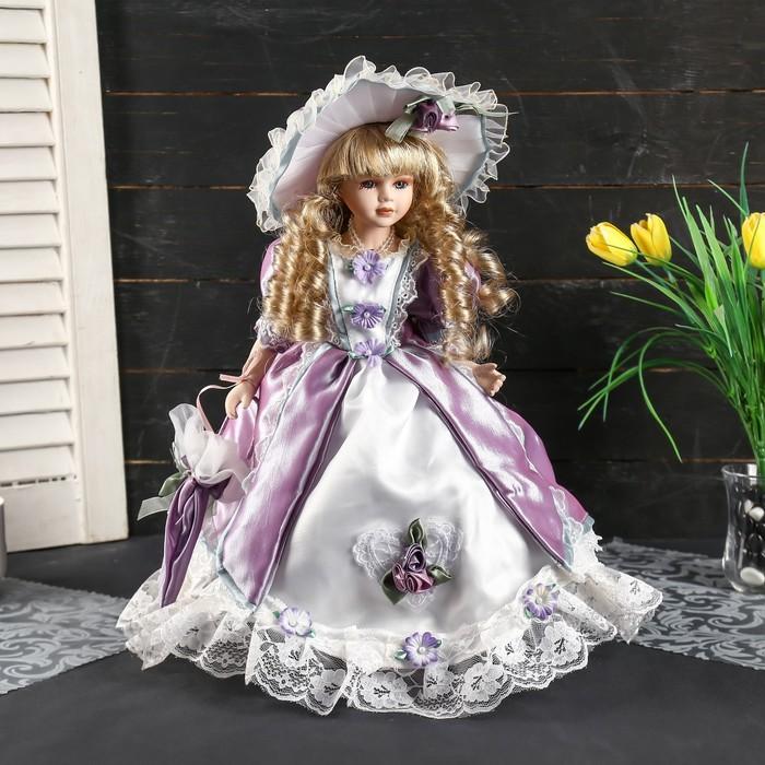 """Кукла коллекционная керамика """"Ангелина в сиренево-розовом платье. шляпе, с зонтом"""" 35 см"""