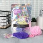 Набор: массажёр антицеллюлитный, резинки (2 шт.) и губка для тела «Волшебный», фиолетовый, 15 х 10,5 см - Фото 1