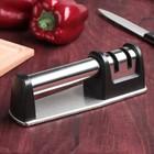 Заточка для ножей «Металлик», с 2 отделениями для стальных и керамических ножей - Фото 1