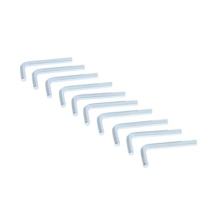 Ключ мебельный TUNDRA, шестигранный Г-образный, сталь 45, 4 мм, 10 шт.