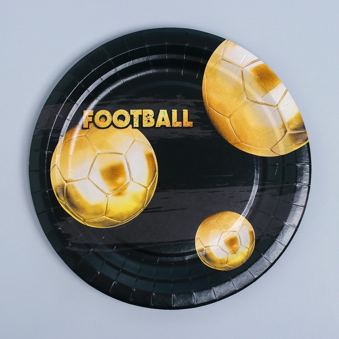 Тарелка бумажная Золотой футбол, 18 см