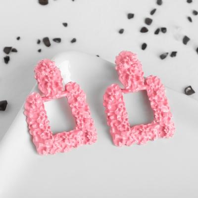 """Серьги металл """"Карибы"""" квадрат, цвет розовый - Фото 1"""