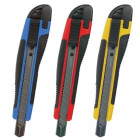 """Нож универсальный BRAUBERG """"Universal"""" 236970, 9 мм, автофиксатор, резиновые вставки"""