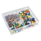 Набор канцелярский из 4-х предметов ( кнопки силовые цветные - 40 шт, кнопки цветные - 80 шт, зажимы для бумаг 15 мм цветные - 15 шт, скрепки 28 мм