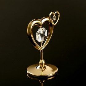 "Сувенир с кристаллами Swarovski ""Двойное сердце"" 5,1х4,1 см"