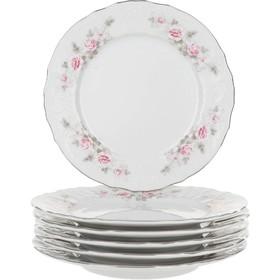 """Тарелка десертная 19 см, Bernadotte, декор """"Бледные розы, отводка платина"""""""