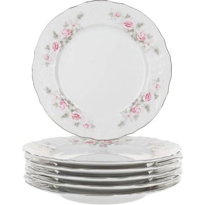 Тарелка десертная Bernadotte, декор «Бледные розы, отводка платина», 19 см - Фото 1
