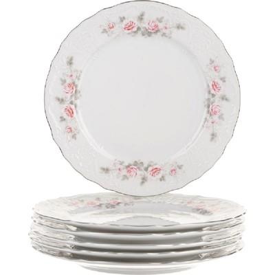 Тарелка мелкая Bernadotte, декор «Бледные розы, отводка платина», 21 см - Фото 1