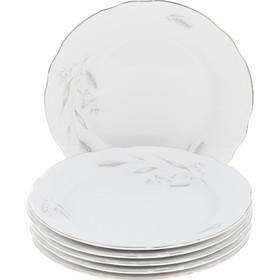 """Тарелка десертная 19 см, Constance, декор """"Серебряные колосья, отводка платина"""""""