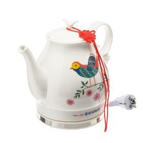 "Чайник электрический Endever Skyline KR-410 C, 1600 Вт, 1.6 л, керамика ""птица"""