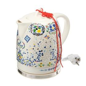 "Чайник электрический Endever Skyline KR-420 C, керамика, 1,7 л, 1600 Вт, ""мозайка"""