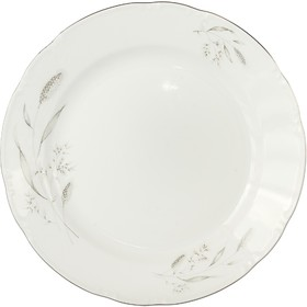 Блюдо мелкое Constance «Серебряные колосья, отводка платина», 30 см