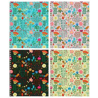 Тетрадь 48 листов в клетку, на гребне Floral meadow, мелованный картон, выборочный УФ-лак, микс - Фото 1