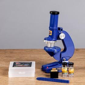 Микроскоп 'Биология', кратность увеличения 450х, 200х, 100х, с подсветкой,  синий Ош