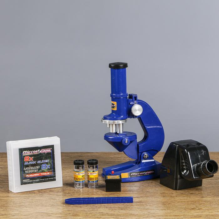Микроскоп «Отличник», увеличение х100, 200, 450, 8 стёкол, пинцет, 2 баночки, проектор