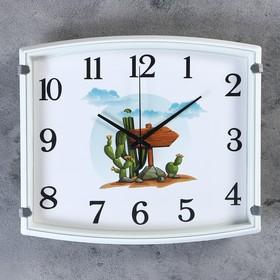Часы настенные, серия: Детские, 'Кактус',  30х3х27 см, 1 АА,  плавный ход Ош