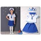 Карнавальный костюм «Морячка», блузка, юбка, бескозырка, рост 104 см